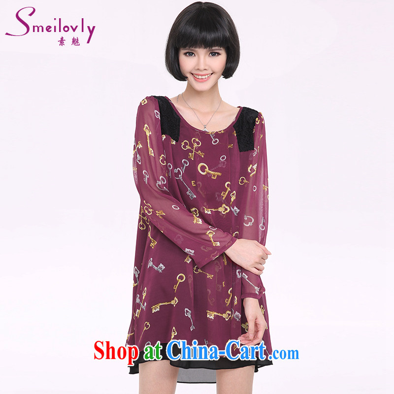 Staff of the fertilizer XL women mm thick spring 2015 new Korean long-sleeved video thin ice woven dresses 2827 wine red code 5 XL