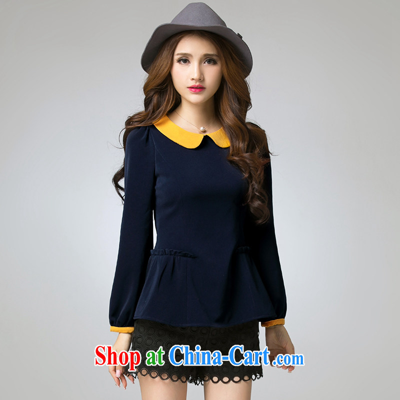 Cross-sectoral expertise provided MM spring new larger female sweet and fat XL flouncing T long-sleeved shirt Item No. 2566 royal blue 3 XL