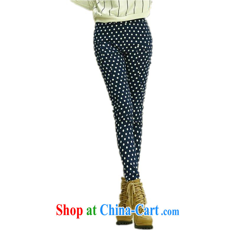 The delivery package as soon as possible e-mail mm thick XL spring Harlan pants dot stamp casual women pants solid pants Elastic waist, Pencil pants and dark blue XXXL approximately 170 - 190 jack