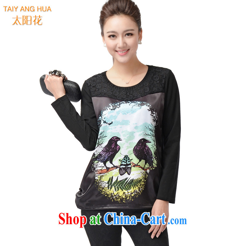 Sun Flower Korean king, female solid shirt and indeed increase new spring loaded thick MM 100 ground animal round-collar T shirts sweater 6199 black 4XL (chest of 112 cm)