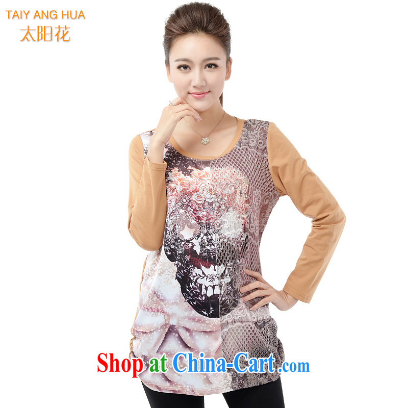 The Sun takes the code female solid T-shirt spring 2015 thick MM 200 Jack stylish stamp wood drill T shirt relaxed, long T-shirt 6192 tea-color 4 XL (chest of 112 cm)