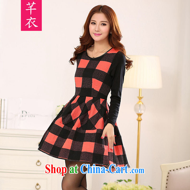 Constitution Yi 2015 spring and indeed increase, female British Air tartan the waist graphics build round-collar long-sleeved warm wind lady mm thick black large XL 4 170 - 180 jack
