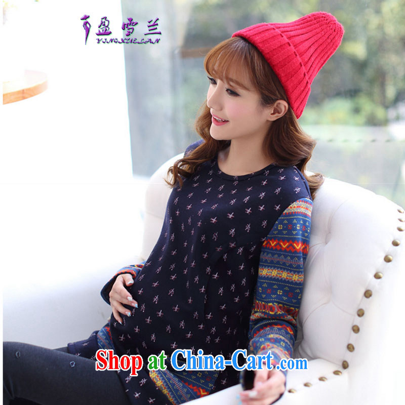 Surplus snow, 2015 pregnant women with the lint-free cloth thick loose larger breast-feeding and clothing, feeding and clothing dresses _905 dark blue XL