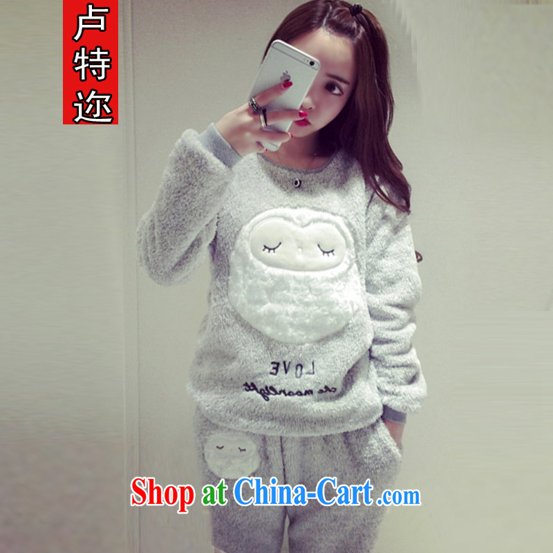 The ethnic cleansing winter clothing new thick lovely fell asleep owl coral pajamas home service kit 3628 _picture color code