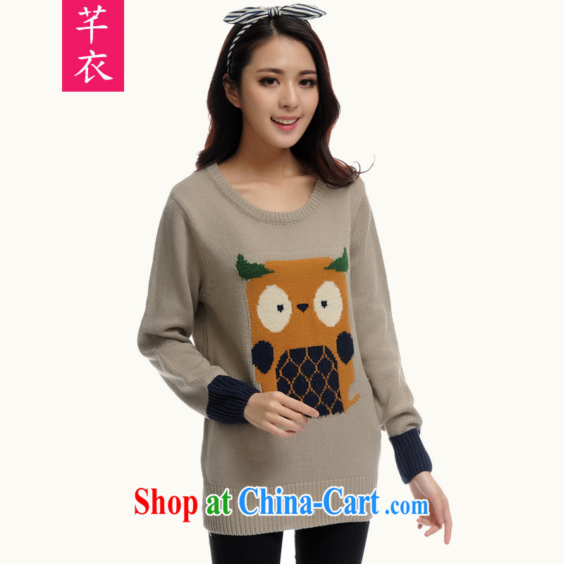Constitution Yi XL blouses 2015 spring new lovely stay wide animals knit-shirt T fat sister is indeed the warm simple and stylish gray large XL 5 190 - 210 jack