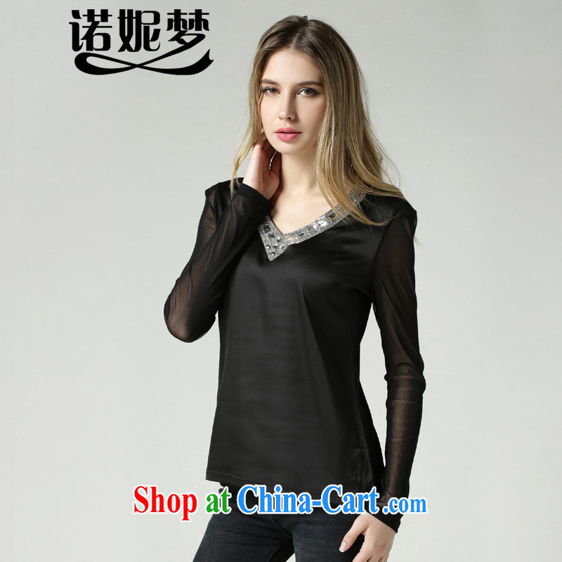 Connie's dream in Europe and indeed the XL female 200 Jack solid T-shirt spring 2015 stylish V for wood drilling Web yarn T long-sleeved shirt women T-shirt s 1815 black XXXXL
