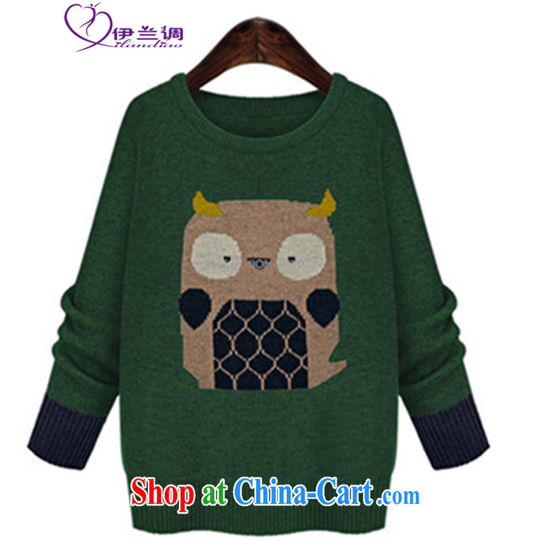 Iraq, the 2015 spring XL blouses T shirt mm thick fat, cute animal loose, long, warm knit sweater green 5 XL 180 - 200 jack