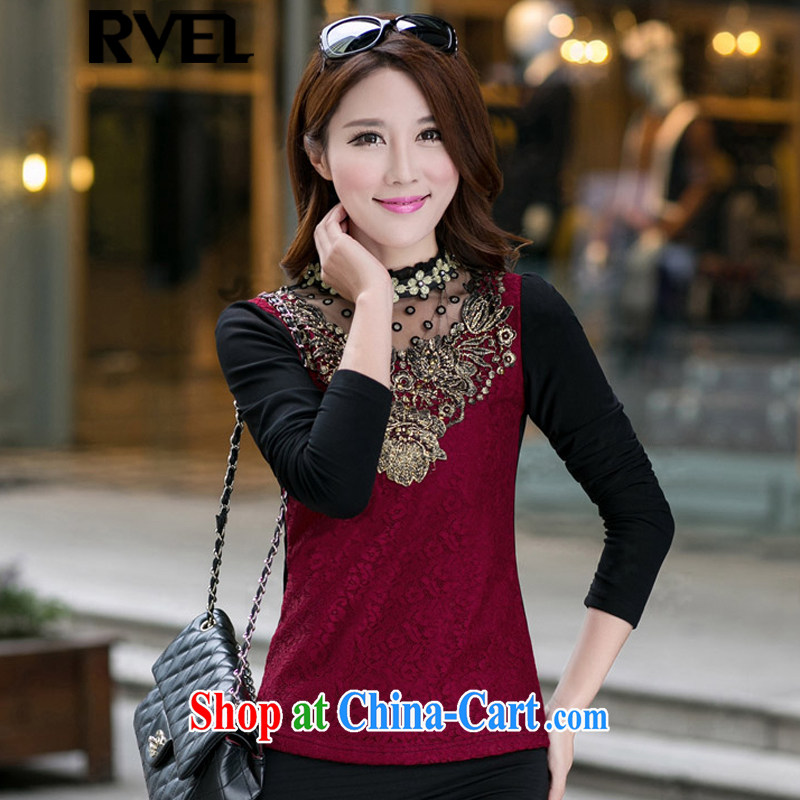 Rvel 2015 spring new Korean video thin XL girls the lint-free cloth thick T-shirt sexy Openwork long-sleeved lace snow woven shirts female D 204 red 4 XL