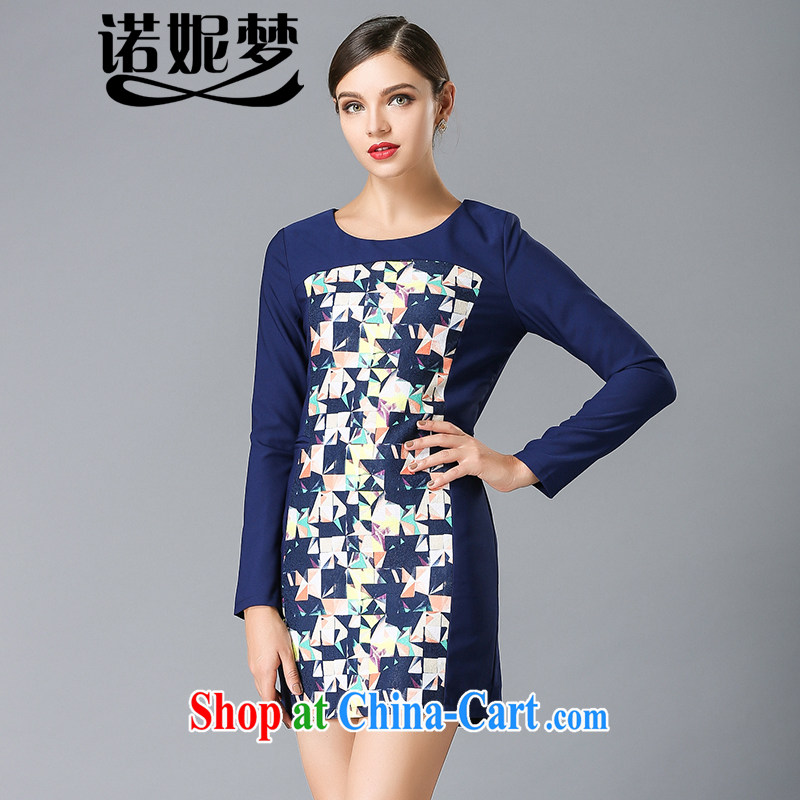 Connie's dream high-end in Europe and indeed the XL women 2015 spring new beauty video thin stamp duty long-sleeved dresses Y 3337 blue XXXXXL