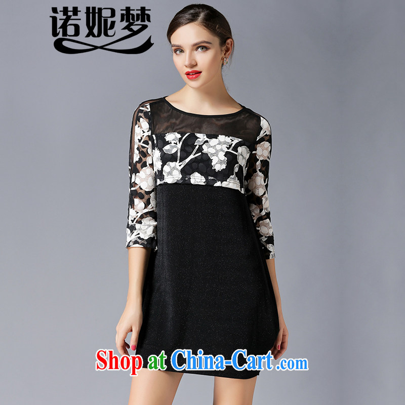 Connie, let the fat increase, women 2015 spring new high-end European and American style name-yuan, a yarn stitching graphics thin stamp dresses Y 3321 black XXXXL