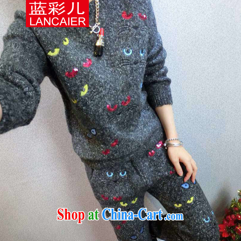 Blue colored Children's European site kitten thick coarse needle knitted T-shirt + pants sweater Kit autumn and winter, two-piece gray trousers are code