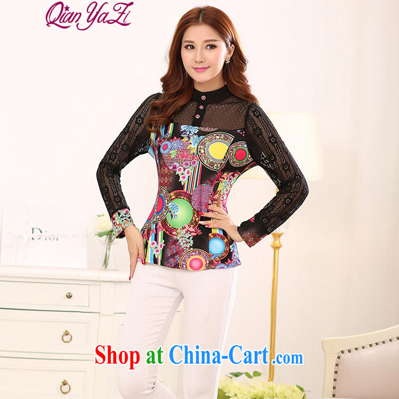 Constitution and colorful 2015 spring XL blouses mm thick-elegant 100 ground T shirts Chinese small, for thick 3 D dyeing solid long-sleeved T-shirt black 4XL 170 - 185 jack