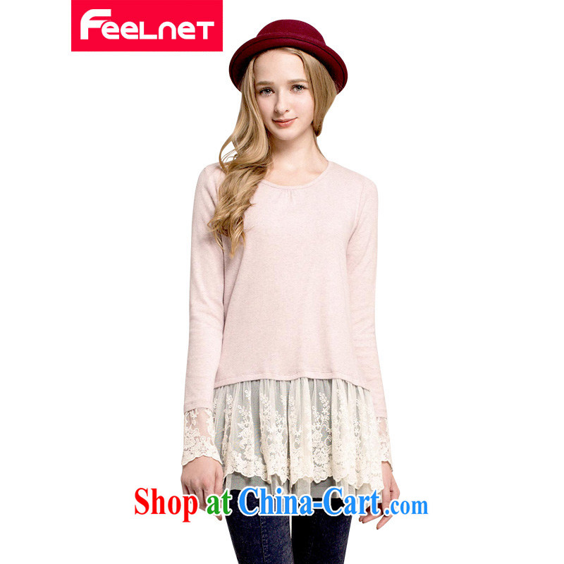 The feelnet Code women's clothing winter clothing and indeed increased significantly in Europe and thin thick mm skirt the fat 100 hem skirt long-sleeved large code dress 2218 pink large code 6 XL