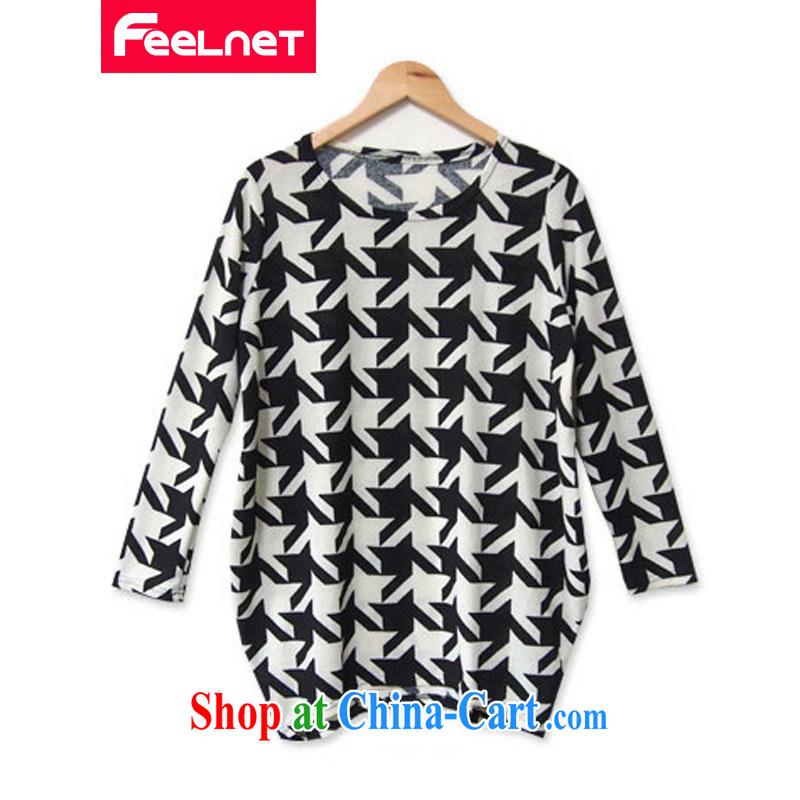 The feelnet Code women in Europe video thin thick mm the fat 100 hem skirt solid long-sleeved T-shirt large code T pension 2213 1000 the birds, the code 6 XL