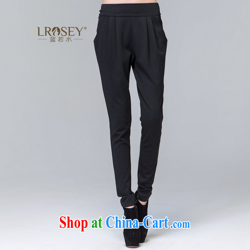 Blue Water increase code quality female 2014 thick MM autumn and winter new high-waist trousers very casual, pants black XXXXL