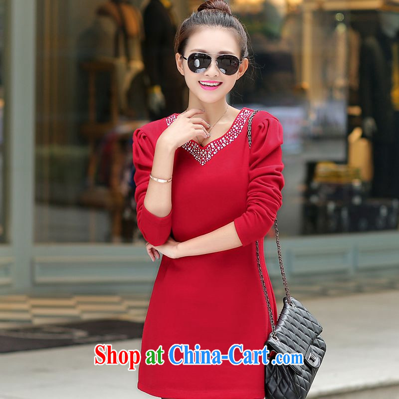 Palau and the United States, Korean version mm thick long-sleeved solid package and dresses parquet drill V collar dresses wine red XL