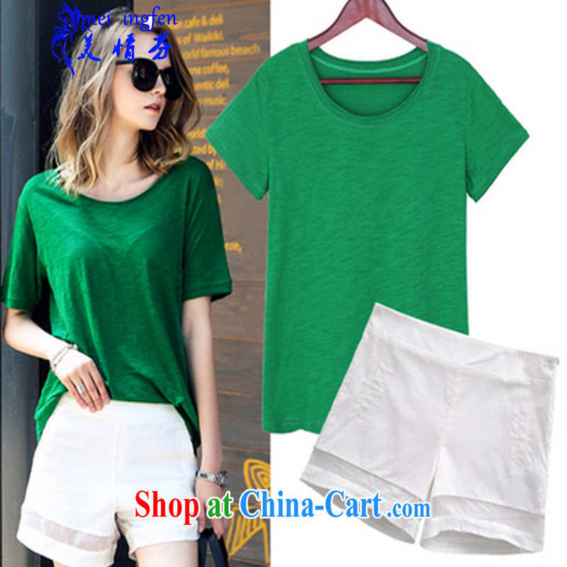 US Summer Fun New American and European Big loose the code short-sleeved T shirts shorts package leisure two-piece female summer 1082 _picture color the code 3 XL
