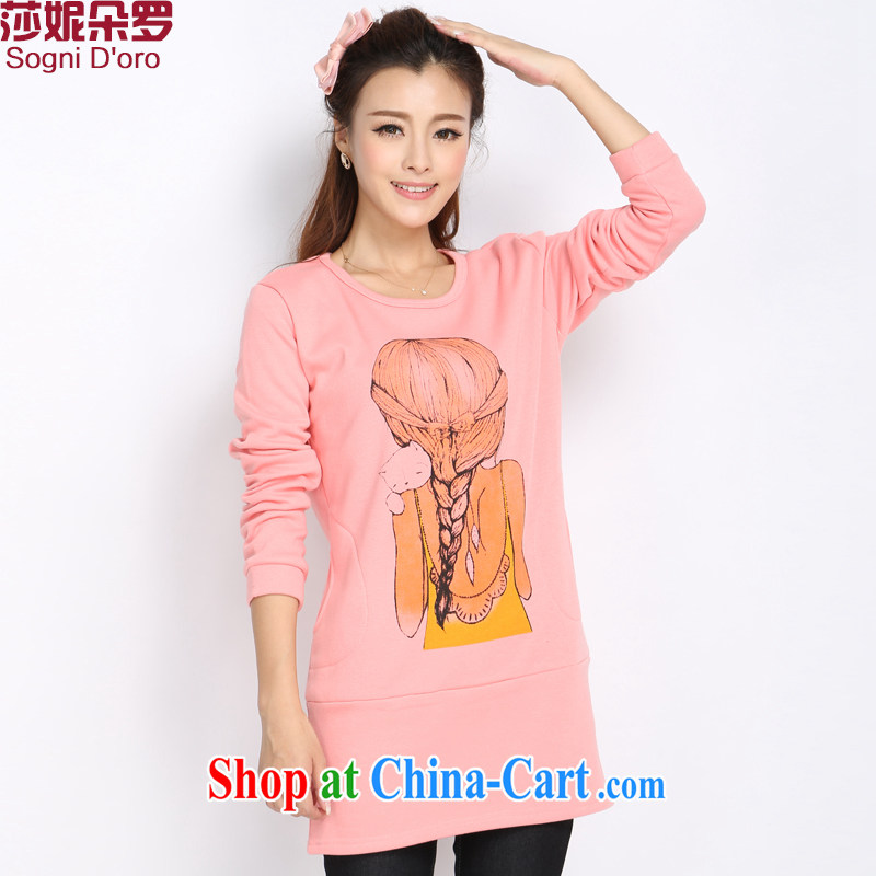 Laurie, flower 2014 XL female autumn and winter clothing thicken the lint-free cloth sweater stamp duty, long, long-sleeved knitted T-shirt T-shirt T-shirt Womens 5018 pink M