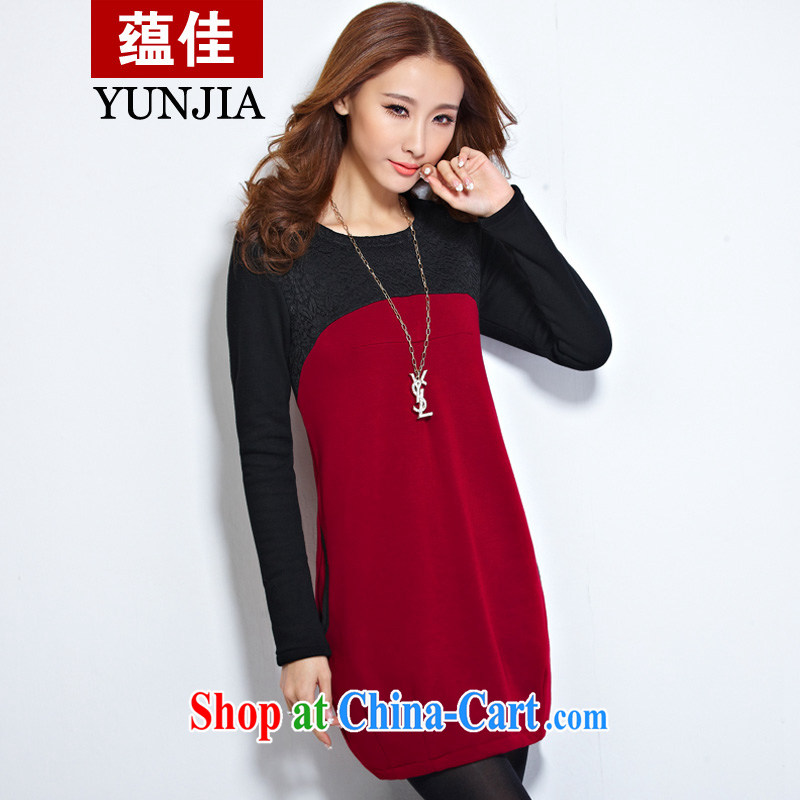 Test-ban better 2014 new women with larger female thick mm long-sleeved T-shirt solid T-shirt Girls fall and winter fat, Video thin T pension the lint-free cloth thick wine red XXXXL