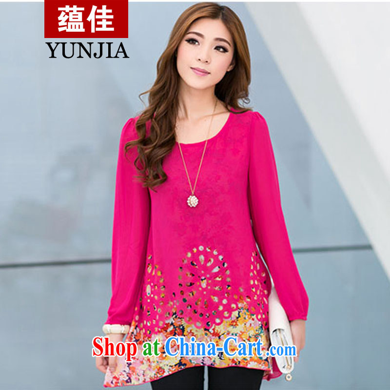 To better 2015 new spring-colored long-sleeved stamp duty leave of two piece floral snow woven shirts T-shirt girls and indeed increase, female, long, loose snow woven shirts red stamp Map Color XXL