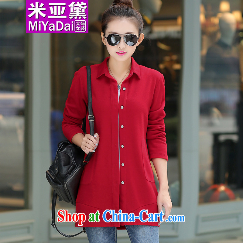 The Estee Lauder maximum code female spring 2015 new thick sister long-sleeved shirt, long graphics thin large code knitted T-shirt the T-shirt and was indeed 200 Jack red 4 XL _recommendations 160 - 180 jack_