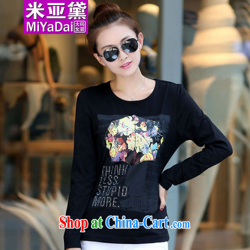 The Estee Lauder maximum code female spring new thick sister long-sleeved T-shirt pure cotton graphics thin large, solid shirts and indeed 200 Jack Black 3 XL _140 - 160 _ jack