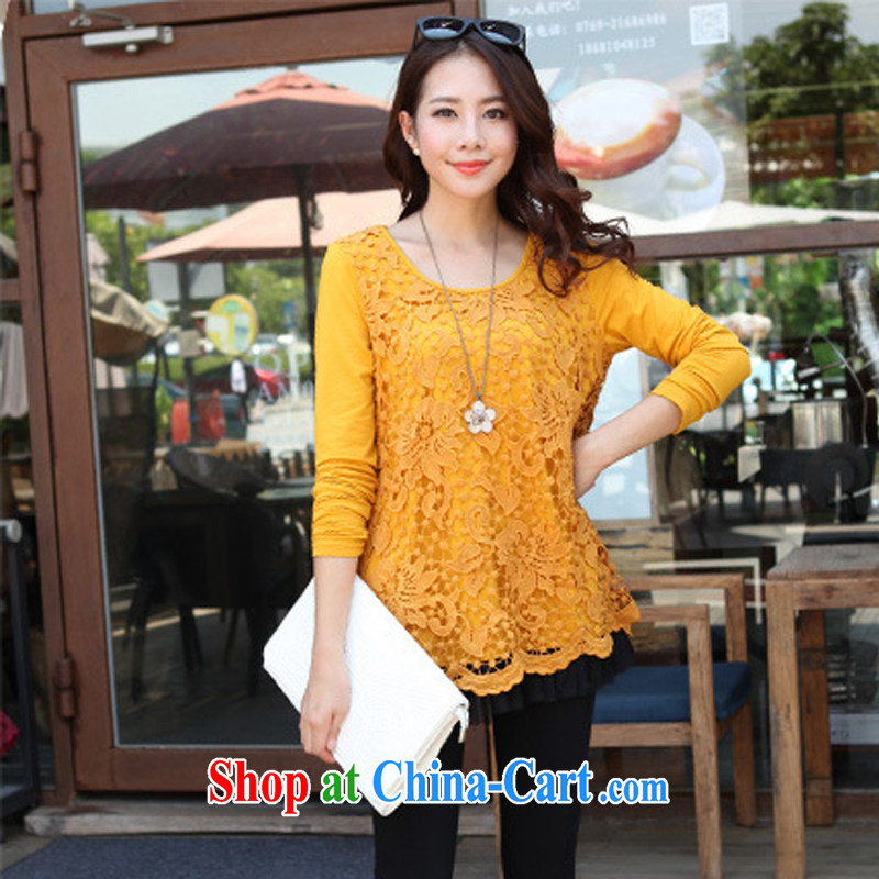 Korean relaxed thick sister leave two-piece the lint-free cloth lace solid T-shirt larger graphics Thin women mm thick winter - YY 887,800 Kang yellow large code 4 XL code