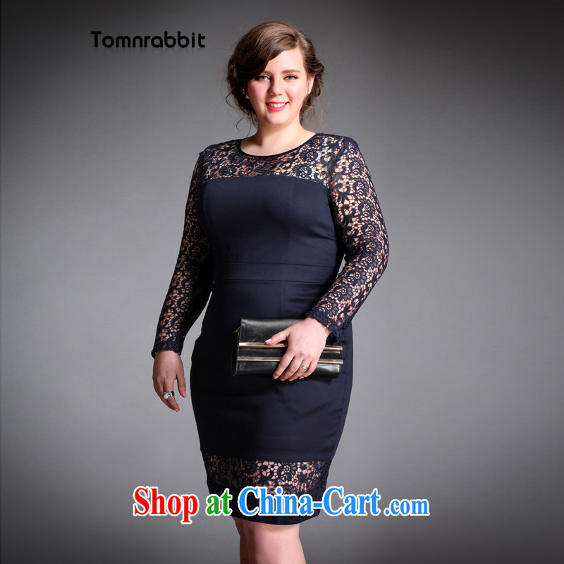 The Tomnrabbit Code women's clothing dresses new European site 2015 spring, Openwork skirt lace stitching long-sleeved further skirt picture color the code XXXL