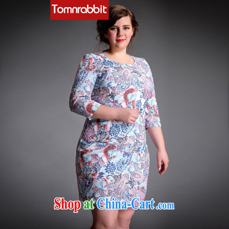 The Tomnrabbit code female dresses new spring 2015 the fertilizer and high-end European and American original design style package and further skirt picture color the code XXL