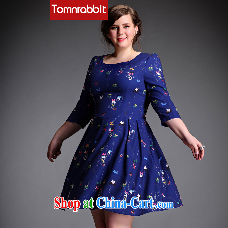 The Tomnrabbit Code women's clothing dresses new spring 2015, original design thick sister beauty graphics thin bubble cuff stylish stamp skirt picture color the code XXXL