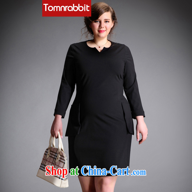 The Tomnrabbit code female dresses new spring 2015, original design Solid Color lace stitching 9 V cuff for thick sister skirt black large code XXXL