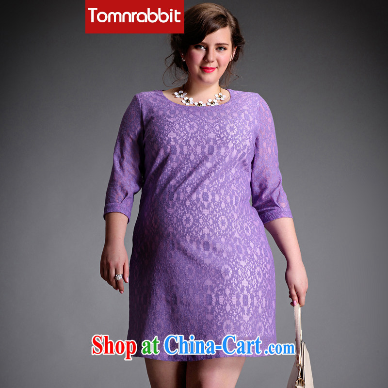 The Tomnrabbit Code women dresses new spring 2015, original design lace 7 cuff mm thick, long, straight and purple skirt the code XXL