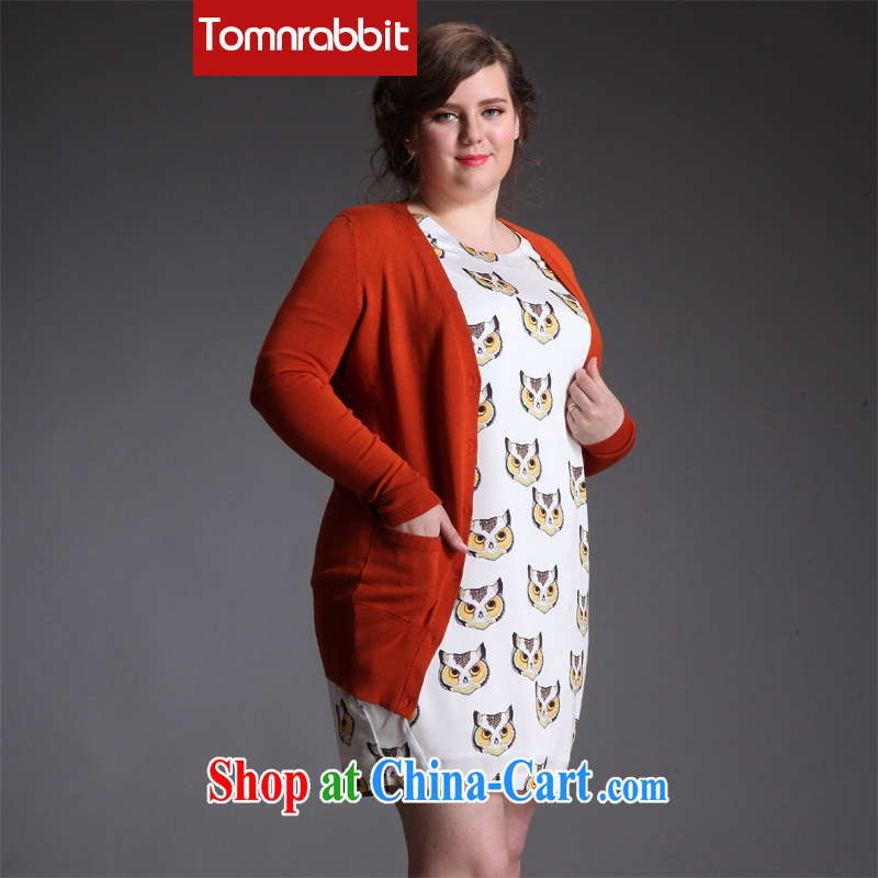 Tomnrabbit 2015 spring new stylish 100 on the code knitted shirts thick mm video thin V collar cardigan pavilions larger XXL