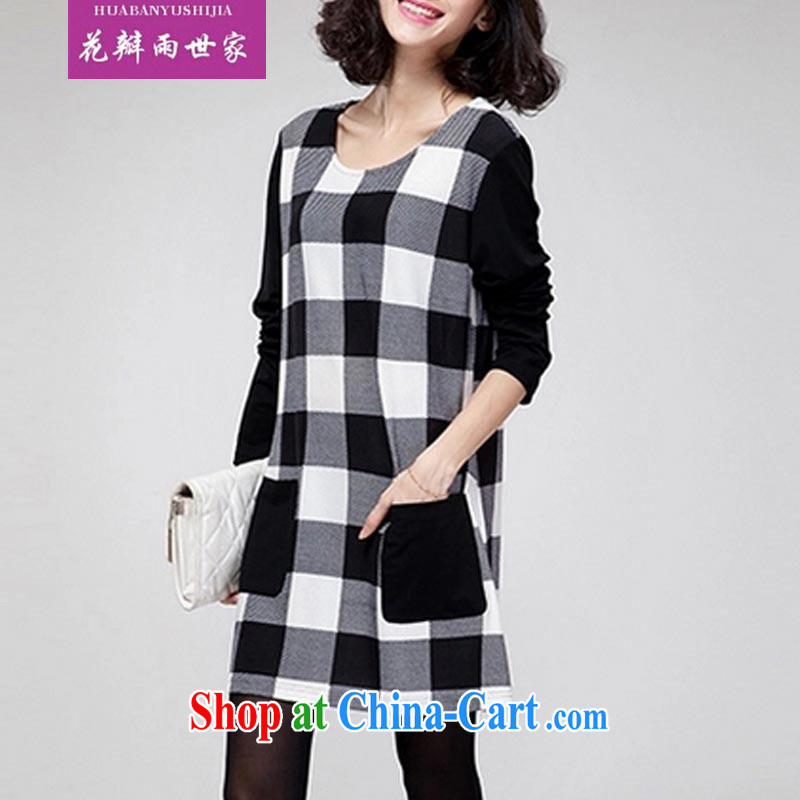 Petals rain saga 2014 the code dress dress solid long-sleeved T-shirt graphics thin loose Korean skirt solid 627 black-and-white checkered L