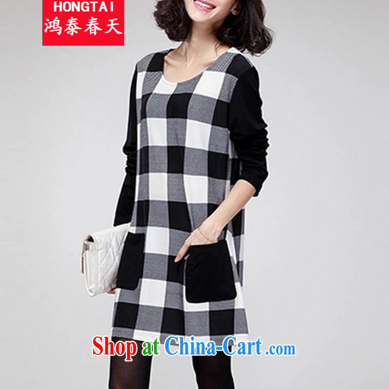 Leong Che-hung Tai spring 2014 the code ladies dress solid long-sleeved T-shirt graphics thin loose Korean skirt solid 627 black-and-white checkered L