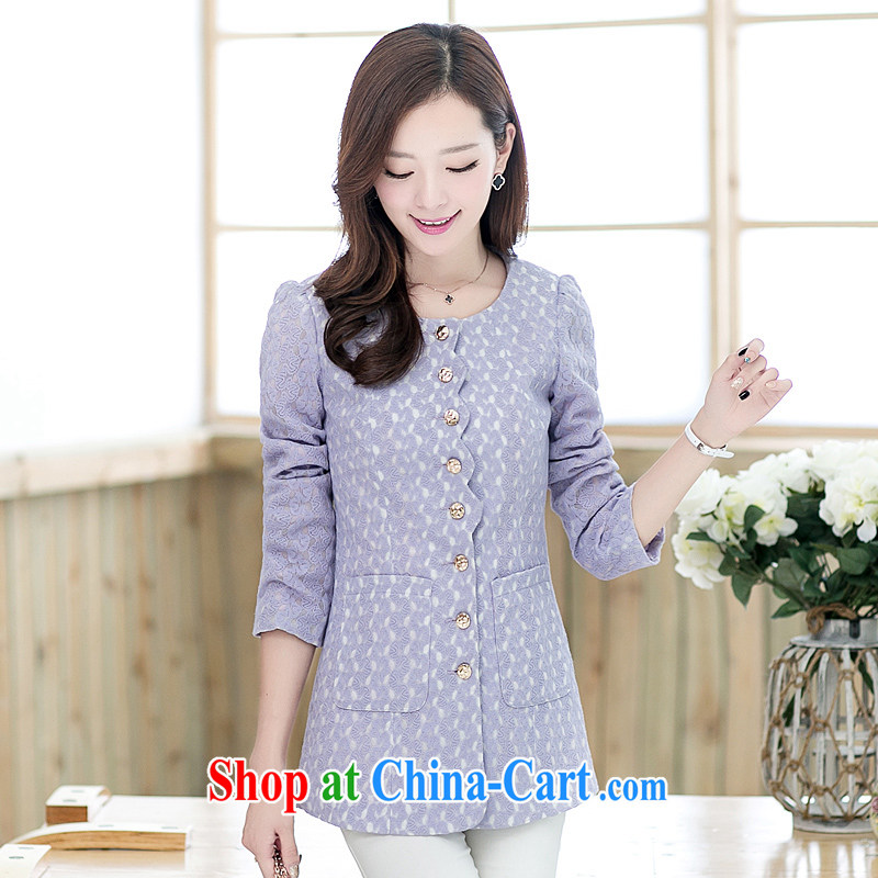 The Diane larger female spring coat thick sister 2015 new lace check take video thin, long wind jacket light purple XL _120 - 140 _ jack