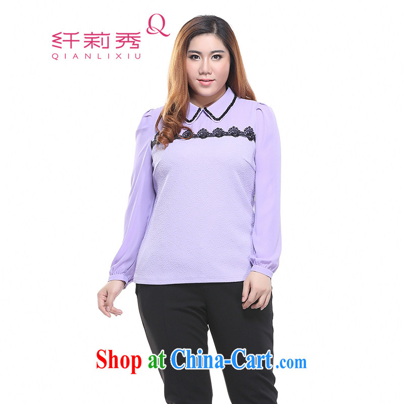 Slim LI Sau 2015 spring new larger female OL lapel lace stitching has been long-sleeved barrel sweater shirt Q 7301 purple XL