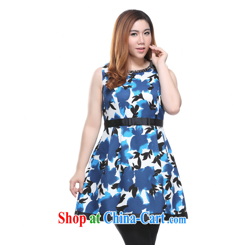 Slim Li-su 2015 spring new, larger female three-dimensional drill link round-collar Bow Tie name Yuan beauty dress vest dresses Q 7302 blue 4 XL