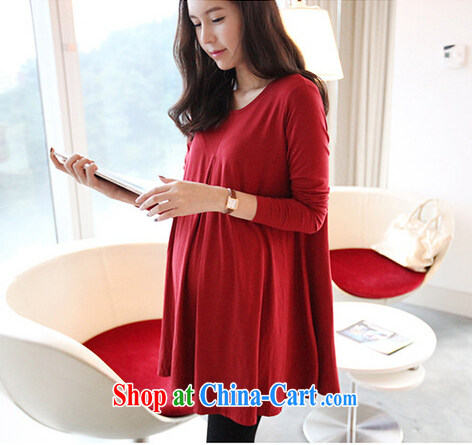 US, pregnant women with Spring and Autumn and pregnant women dresses and stylish 100 pregnant women at solid long-sleeved T-shirt skirt pregnant women 2015 _red are code