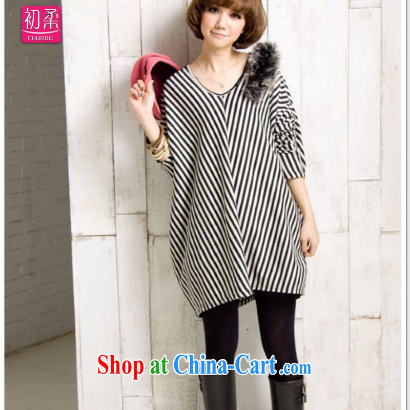 Flexible early spring and autumn 2015, mm thick ultra-large, female Korean long-sleeved Dress Shirt T the fat increase graphics thin T-shirt 200 jack is wearing a black, code