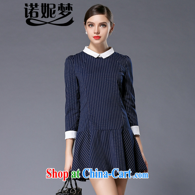 Connie's dream in Europe and indeed the XL women 2015 spring new original thick mm stylish lapel vertical streaks graphics thin dresses Y 3325 blue M
