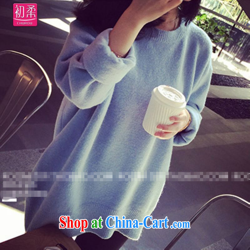 Flexible early 2015, spring and autumn mm thick Korean female loose long-sleeved woolen pullover large, knitted T-shirt T-shirt 200 jack can be seen wearing a pair of blue are code