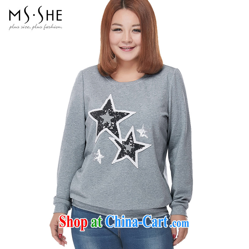 MSSHE XL ladies' 2015 spring embroidered long-sleeved sweater 2543 gray 5 XL
