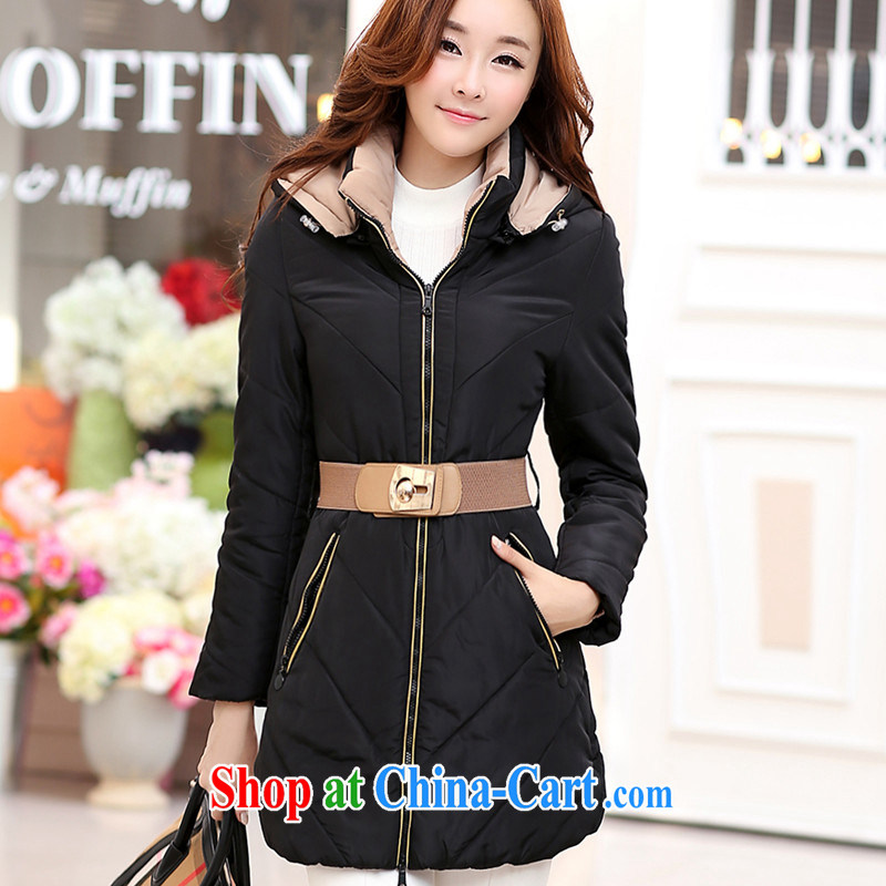 The fat XL women winter jackets thick mm Korean version 200 quilted coat Jack 2014 new thick sister Korean video thin thick sister in long cotton suit black XXXXL
