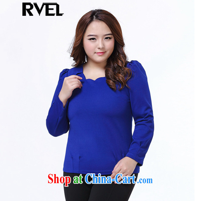 Rvel 2015 spring new Korean version thick MM XL Plus is indeed a widening poverty mask graphics thin blouses solid long-sleeved shirt T female P 102 blue 4 XL