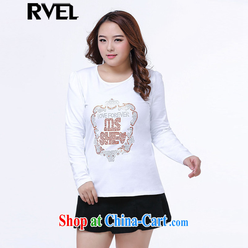 Rvel 2015 spring loaded new staple Pearl lace-up code and indeed graphics thin black white blouses solid-colored long-sleeved shirt T female P 103 white 4XL _170 to 190 jack_