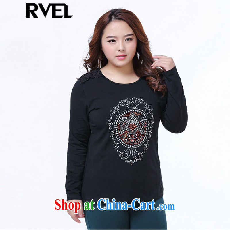 Rvel 2015 spring new staple thick Pearl MM XL is the graphics thin black blouses solid long-sleeved shirt T female P 104 black 4XL _recommended 170 to 190 jack_