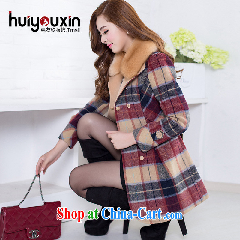2014 fall and winter with the Code female Korean version is indeed the XL cashmere overcoat thick MM Sau San video thin thick sister so gross coat jacket thick red plus cotton M