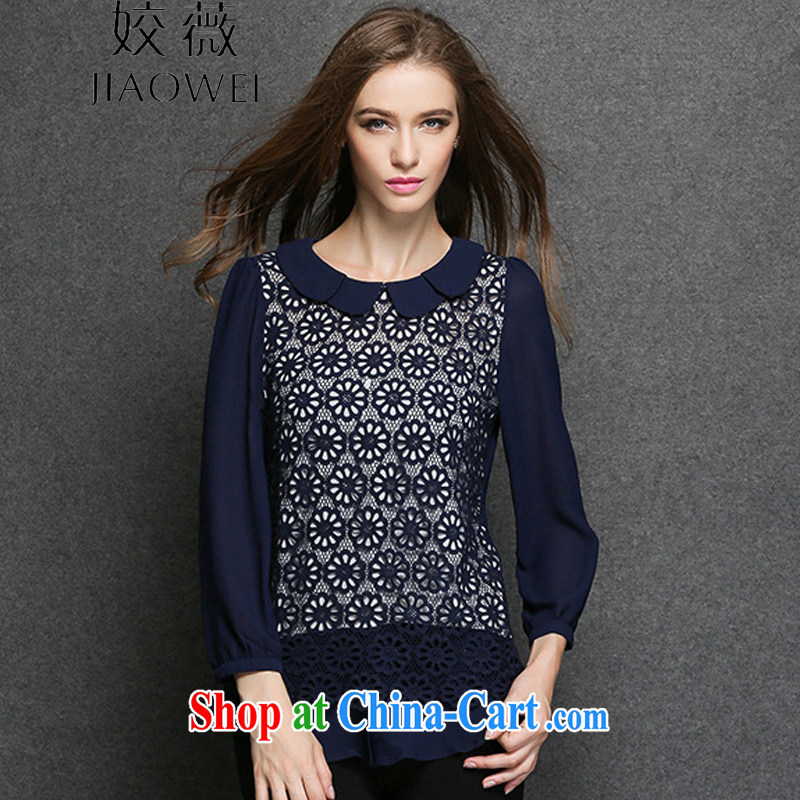 2015 spring new larger snow woven shirts girls thick mm and indeed increase language three-dimensional lace stitching shirts JW 3319 dark blue XXXXL