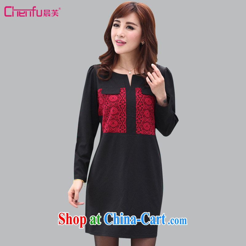Morning would be 2015 Plus is indeed increasing, female fat mm spring loaded new stylish round-collar lace stitching thick sister long-sleeved dresses video thin black 5 XL (180 - 200 ) jack
